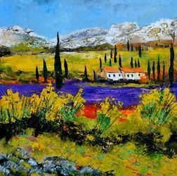 Provence 56, Architecture,Decorative Arts,Drawings / Sketch,Paintings, Expressionism, Decorative, Canvas, By Pol Ledent