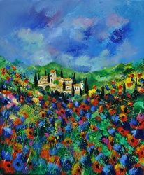 Provence 564150, Architecture,Decorative Arts,Drawings / Sketch,Paintings, Impressionism, Landscape, Canvas, By Pol Ledent