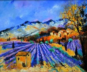 Provence 653, Architecture,Decorative Arts,Drawings / Sketch,Paintings, Expressionism, Landscape, Canvas, By Pol Ledent