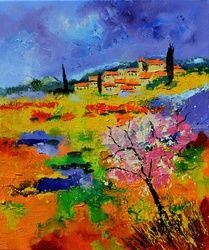 Provence 676170, Architecture,Decorative Arts,Drawings / Sketch,Paintings, Expressionism, Landscape, Canvas, By Pol Ledent