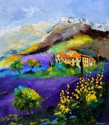 Provence 690, Architecture,Decorative Arts,Drawings / Sketch,Paintings, Expressionism, Botanical, Canvas, By Pol Ledent