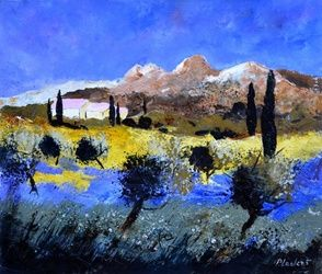 provence 7661, Architecture,Decorative Arts,Drawings / Sketch,Paintings, Impressionism, Landscape, Canvas, By Pol Ledent