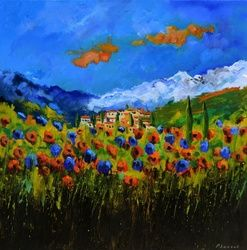 Provence 7671, Architecture,Decorative Arts,Drawings / Sketch,Paintings, Expressionism, Landscape, Canvas, By Pol Ledent