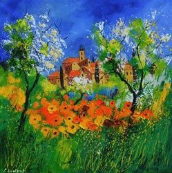 Provence 776180, Architecture,Decorative Arts,Drawings / Sketch,Paintings, Expressionism, Landscape, Canvas, By Pol Ledent