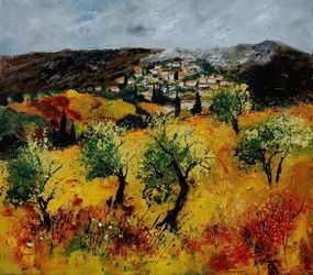 Provence 7841, Architecture,Decorative Arts,Drawings / Sketch,Paintings, Impressionism, Landscape, Canvas, By Pol Ledent