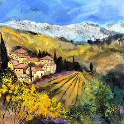 Provence 887160, Architecture,Decorative Arts,Drawings / Sketch,Paintings, Expressionism, Landscape, Canvas, By Pol Ledent