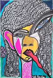 Psychedelic drawings modern<br>artwork by Mirit Ben-Nun from<br>Israel, Drawings / Sketch, Expressionism, Fantasy, Ink, By Mirit Ben-Nun