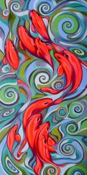 Psychedelic fish, Paintings, Expressionism,Fine Art, Animals, Oil, By federico cortese