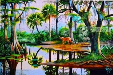 Puma in Paradise, Paintings, Realism, Animals,Land Art,Landscape,Nature,Tropical,Wildlife, Acrylic, By OLIVER MACHADO