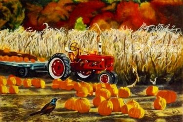 Pumpkin Harvest, Paintings, Realism, Botanical,Land Art,Nature, Acrylic, By OLIVER MACHADO