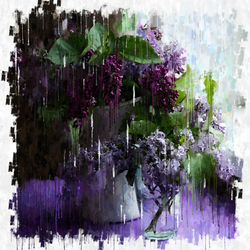 purple flower, Paintings, Impressionism, Floral, Mixed,Painting, By Angelo