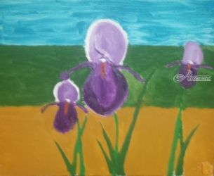 Purple Irises, Paintings, Impressionism, Landscape, Oil, By MD Meiser