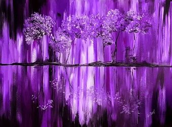 Purple Tranquility, Paintings, Abstract, Decorative, Acrylic, By Deborah Pride