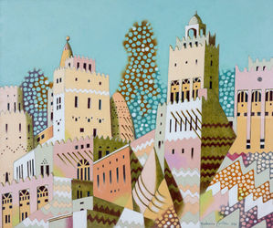 Qatar, Paintings, Expressionism,Surrealism, Architecture,Landscape, Oil, By federico cortese