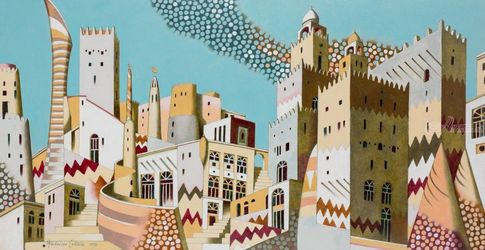 Qatar, Paintings, Realism,Surrealism, Architecture,Landscape, Oil, By federico cortese