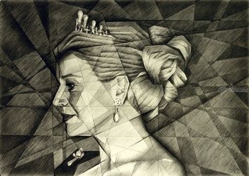 Queen Maxima - 17-10-14, Drawings / Sketch, Abstract,Cubism,Fine Art,Impressionism,Realism,Surrealism, Anatomy,Composition,Figurative,Inspirational,People,Portrait, Pencil, By Corne Akkers