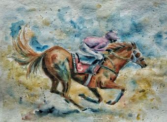 Racing horse, Paintings, Fine Art, Animals, Watercolor, By Tetyana K