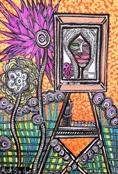 Radical art Israeli artist<br>colorful drawing Mirit Ben-Nun, Drawings / Sketch, Expressionism, Fantasy, Ink, By Mirit Ben-Nun