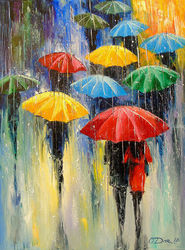 Rain, Paintings, Impressionism, Figurative,Nature,People, Canvas,Oil,Painting, By Olha   Darchuk