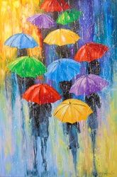Rain, Paintings, Fine Art,Impressionism, Botanical,Fantasy,Nature,People, Canvas,Oil,Painting, By Olha   Darchuk