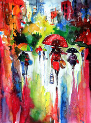 Rain and the city at fall, Paintings, Impressionism, Cityscape,People, Watercolor, By Kovacs Anna Brigitta