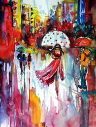 Rain and the city at fall II, Paintings, Impressionism, People, Watercolor, By Kovacs Anna Brigitta