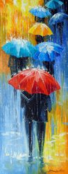 Rain in a multicolored city, Paintings, Abstract,Impressionism, Cityscape,Daily Life,Fantasy, Canvas,Oil,Painting, By Olha   Darchuk