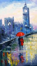 Rain in London, Paintings, Fine Art,Impressionism, Architecture,Cityscape,Fantasy, Canvas,Oil,Painting, By Olha   Darchuk