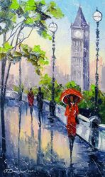 Rain in London, Architecture,Paintings, Impressionism, Architecture,Botanical,Cityscape,Landscape, Canvas,Oil,Painting, By Olha   Darchuk