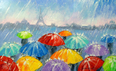 Rain in Paris, Paintings, Abstract,Impressionism, Cityscape,Daily Life,Fantasy, Canvas,Oil,Painting, By Olha   Darchuk