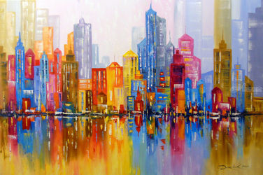 Rainbow city, Paintings, Abstract,Impressionism, Architecture,Cityscape, Canvas,Oil,Painting, By Olha   Darchuk