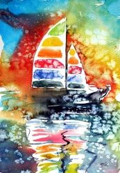 Rainbow sailboat at sunset, Paintings, Impressionism, Seascape, Watercolor, By Kovacs Anna Brigitta