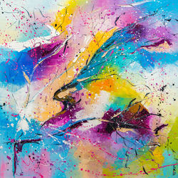 RAINBOW SPLASHES, Paintings, Abstract, Fantasy, Canvas,Oil, By Liubov Kuptsova