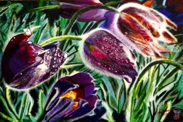 Raindrops on Wild Tulips, Paintings, Realism, Botanical,Landscape,Nature, Acrylic, By OLIVER MACHADO