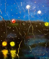 Rainy night, Paintings, Abstract,Fine Art,Impressionism,Minimalism, Cityscape, Canvas,Oil, By Anastasia Salo
