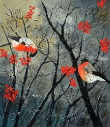 Red birds in winter, Architecture,Decorative Arts,Drawings / Sketch,Paintings, Expressionism, Nature, Canvas, By Pol Ledent