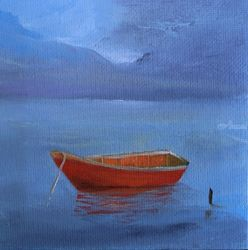 Red Boat on Blue Lake, Paintings, Impressionism, Seascape, Canvas, By Alicia Maury