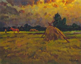 Red horse on the meadow, Paintings, Impressionism, Landscape, Canvas,Oil,Painting, By Vasily Belikov