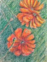 Red poppies, Drawings / Sketch, Fine Art,Impressionism, Botanical,Decorative,Floral, Oil,Pastel, By Tetyana K