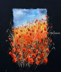 Red poppies 676, Paintings, Expressionism, Landscape, Canvas, By Pol Ledent