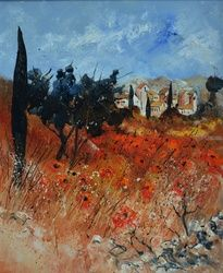 Red provence, Architecture,Decorative Arts,Drawings / Sketch,Paintings, Expressionism, Decorative, Canvas, By Pol Ledent