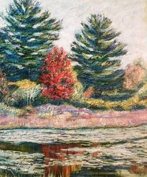 Red Tree- Hampton Ponds, Paintings, Impressionism, Landscape, Oil,Painting, By Richard Nowak