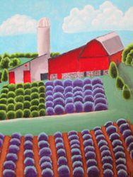 RedBarn in Lavender, Paintings, Abstract, Landscape, Acrylic, By melanie lutes