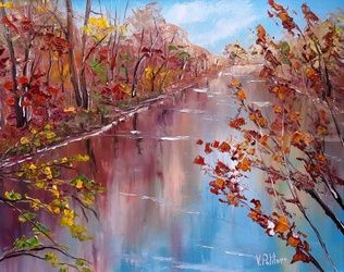 Reflexes of autumn., Paintings, Impressionism, Landscape, Oil, By Valeriy Politov