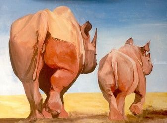 Remember son, Poachers are<br>very nasty people, Paintings, Fine Art, Animals, Acrylic,Canvas,Wood, By broonzy williams