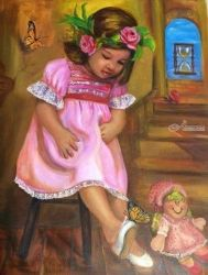 Reminiscence, Paintings, Realism, Children, Acrylic, By Luz Celeste Figueroa