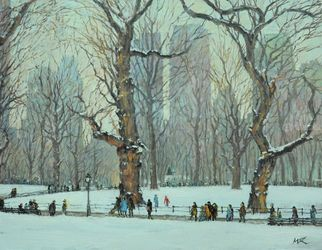 Renee's Stroll in Winter, Paintings, Impressionism, Landscape, Canvas,Oil, By Mason Kang