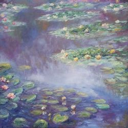Replica of Monet s water<br>lilies in blue, Paintings, Fine Art,Impressionism, Botanical,Floral,Land Art,Landscape, Oil, By Emilia Milcheva