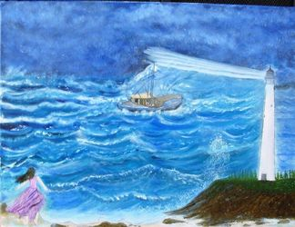 Rescue, Paintings, Fine Art, Inspirational,Seascape, Canvas,Oil,Painting, By Lana Fultz