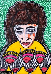 Retratos unicos pintora<br>israeli Mirit Ben-Nun, Paintings, Expressionism, People, Ink, By Mirit Ben-Nun